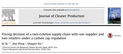 مقاله ترجمه شده تصمیم گیری قیمت گذاری زنجیره تامین دو سطحی با یک تامین کننده و دو خرده فروش تحت تنظیم مقررات کربن
